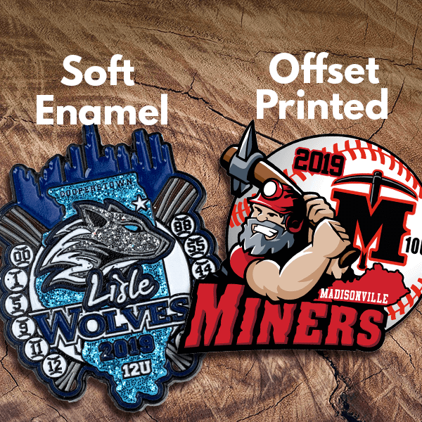 The difference between a soft enamel and offset printed pin