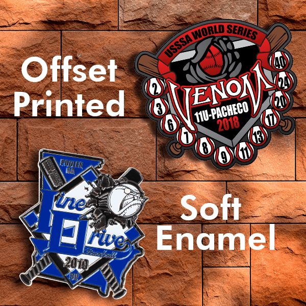 What is the difference between a soft enamel and offset printed pin?